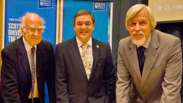 L-R: Professor Peter Higgs, Principal Professor Steve Chapman and Professor Rolf Heuer