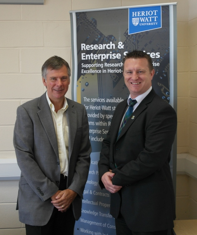 NiTech Finance Director Neil Todd with Robert Goodfellow, of Heriot-Watt University's Research & Enterprise Services.