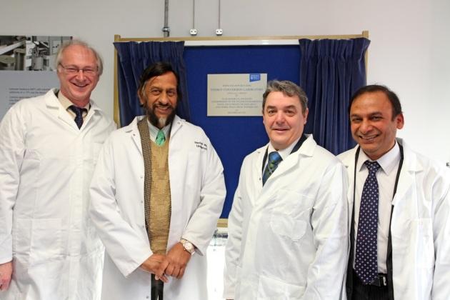 Professor Alan Miller, Dr Pachauri, Professor Steve Chapman and Professor Hari Upadhaya